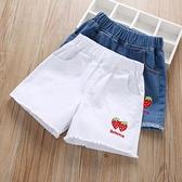 短褲 女童牛仔短褲夏裝2021年夏季兒童中大童薄款外穿洋氣白色百搭褲子