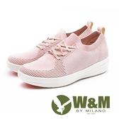 【南紡購物中心】W&M MODARE襪套式 飛線編織厚底女鞋-粉(另有藍)