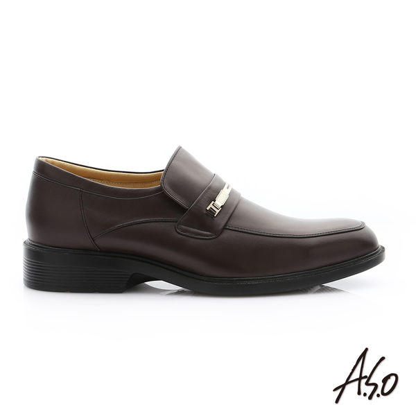 A.S.O 頂級氣墊 油感軟牛皮奈米直套紳士皮鞋 咖啡