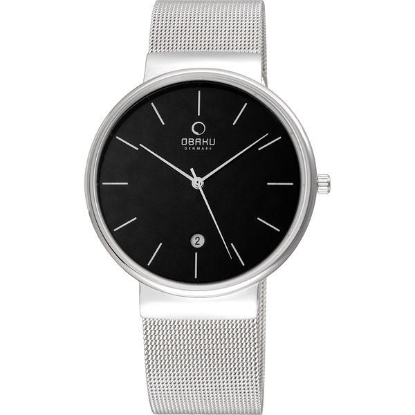 OBAKU 純粹經典三針日期時尚米蘭腕錶-銀x黑