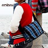 學院風蘇格蘭紋 百搭造型肩側背包 高質感絨布材質~ 藍色 AMINAH~【am-0103】