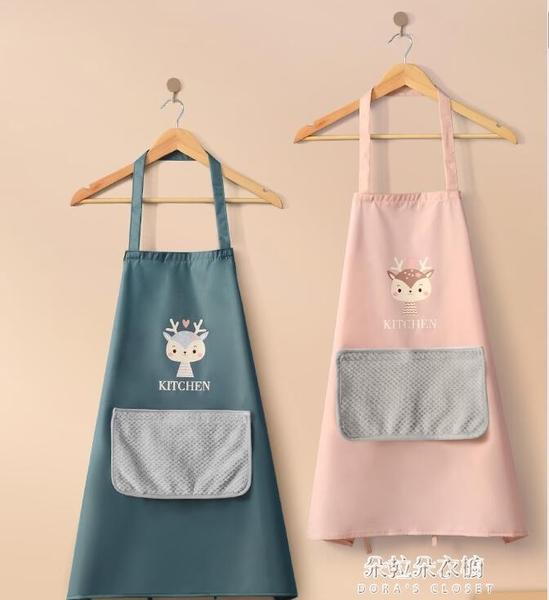 圍裙 2021新款女圍裙家用廚房防水男士工作服夏季網紅同款 朵拉朵衣櫥