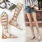 2021夏新款羅馬涼鞋 女平底韓版真皮長高筒套趾水鉆百搭時尚涼靴女