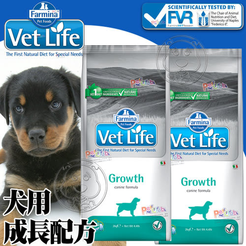 【ZOO寵物樂園】(送刮刮卡*1張)法米納》VetLife獸醫寵愛天然處方犬用成長配方-2kg(免運)