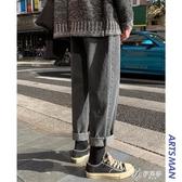 牛仔褲男士冬季新款韓版寬鬆潮流百搭港風直筒長褲潮 伊芙莎