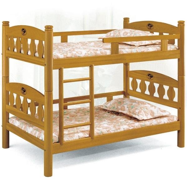 雙層床 AT-597-2 3.5尺烏心石圓柱雙層床 (不含床墊) 【大眾家居舘】