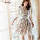 洋裝 滿版蕾絲V領透膚短袖洋裝-白色-Ruby s 露比午茶