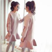 韓版中長款寬鬆加厚長袖毛呢洋裝女魚尾衛衣裙子 沸點奇跡