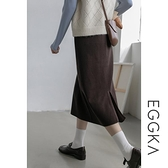 EGGKA鬆緊腰針織半身裙女春季款黑色高腰顯瘦A字包臀裙中長款 夏日特惠 夏季特惠