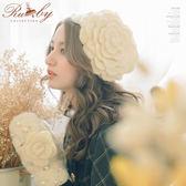 帽子 立體珍珠花朵毛線編織保暖套頭帽手套二件組-Ruby s 露比午茶