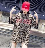豹紋網紅歐貨大版T恤女短袖2019夏新款ins中長款寬鬆時 伊蒂斯女裝