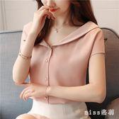 雪紡衫短袖女中大尺碼新款時尚氣質V領小衫小清新純色百搭上衣潮 js5348『miss洛羽』
