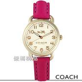 【僾瑪精品】COACH 優雅韻味 迷你馬車經典腕錶-金x桃紅/28mm/14502612