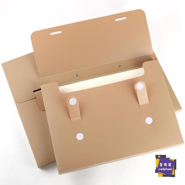 全館8折 繪畫夾 A3文件夾收納盒學生用資料冊收納夾大容量4K手提風琴包4開美術檔案盒