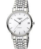 LONGINES 浪琴 Presence 經典優雅機械腕錶/手錶-白/38mm L49214126