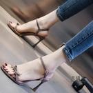 露趾高跟涼鞋 高跟涼鞋女細跟夏新款性感百搭一字帶女鞋蝴蝶結仙女風高跟鞋