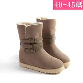 中大尺碼女鞋 麂皮保暖加絨排釦雪靴/中筒靴/ 大尺碼女靴40-45碼 172巷鞋舖【NBD189-1】
