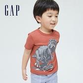 Gap男幼童 布萊納系列 趣味動物印花純棉T恤 701448-陶器紅