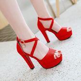 高跟涼鞋【大碼32-43】 交叉帶魚嘴新款夏紅色新娘婚鞋粗跟超防水台包跟女鞋 - 古梵希