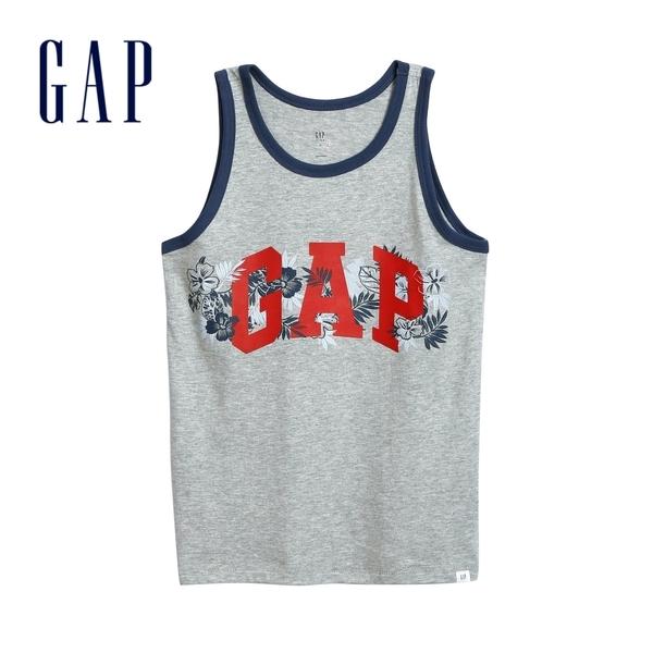 Gap男童創意Logo圓領背心586454-淺灰色