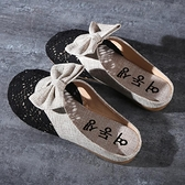 快速出貨 包頭半拖鞋 拖鞋女夏季 外穿平底無后跟懶人一腳蹬涼拖網紅