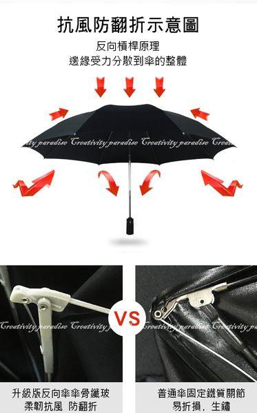 【摺疊反向傘】105cm一鍵開啟遮陽傘 三折傘 自動傘 單鍵摺疊傘 防曬晴雨傘 折疊傘 反摺傘 反折傘