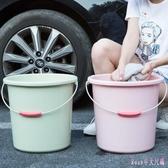 塑料手提小水桶家用大號加厚洗衣桶子儲水桶洗車圓桶塑料桶洗衣桶 DR2880 【Rose中大尺碼】