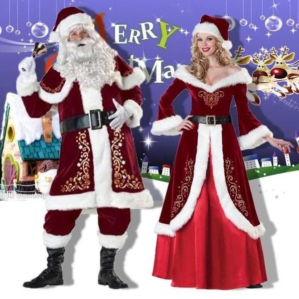 \圣誕主題服裝老人服裝衣服男套圣誕節套裝裙女成人歐美情侶演快速出貨
