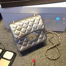 【P067】shiny藍格子-時尚簡約.新款時尚單肩斜挎包迷你小包菱格鏈條包