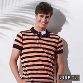 【JEEP】品牌文字刺繡條紋短袖POLO衫 (橘黑)