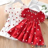 兒童連身裙寶寶夏季裙子女童花邊小女孩圓點雪紡短袖裙【淘夢屋】