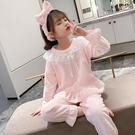 兒童睡衣 兒童睡衣女童春法蘭絨套裝新款中大童公主洋氣珊瑚絨家居服【快速出貨八折下殺】