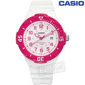 CASIO 卡西歐 潛水風格 迷你運動錶 32mm 白色 桃紅色 / LRW-200H-4B