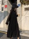 秋裝韓版新款很仙的純色雪紡中長款高腰顯瘦...