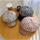 帽子女秋冬韓版八角帽格紋拼接PU皮鴨舌帽網紅款貝雷帽英倫報童帽