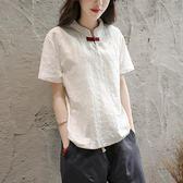 棉麻T恤女短袖立領復古修身民族風亞麻上衣