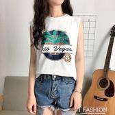春夏新款女裝字母印花寬鬆顯瘦學生百搭無袖打底外穿背心T恤上衣·Ifashion