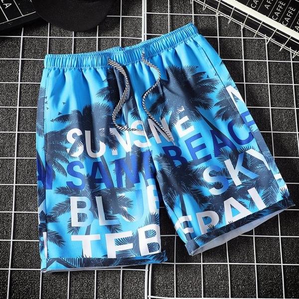 海灘褲 夏季男士沙灘褲寬鬆大碼花短褲速干大碼五分褲情侶休閒潮流大褲衩 夢藝