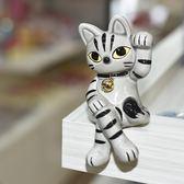 大眼招手 坐姿 銀灰 幸運招財貓 陶瓷 日本製