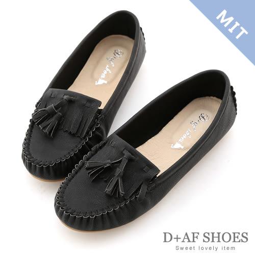 豆豆鞋 D+AF 優活舒適.MIT流蘇豆豆底莫卡辛鞋*時尚黑
