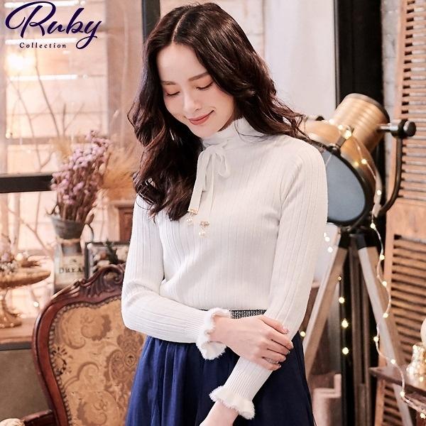 上衣 絨毛邊綁帶坑條針織長袖上衣-Ruby s 露比午茶