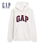 Gap 男裝 Logo長袖連帽休閒上衣 488108-灰白色