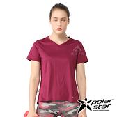 PolarStar 女 排汗休閒圓領上衣『紅紫』P21114 排汗衣 排汗衫 吸濕快乾 露營.吸濕.排汗.透氣.快乾