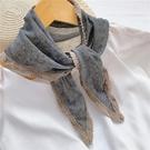 秋季薄款百搭裝飾假領子外搭棉麻三角巾小披...
