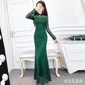 秋冬新款女裝氣質洋裝高冷御姐風成熟蕾絲裙子時尚連身裙長裙 YN3254『寶貝兒童裝』