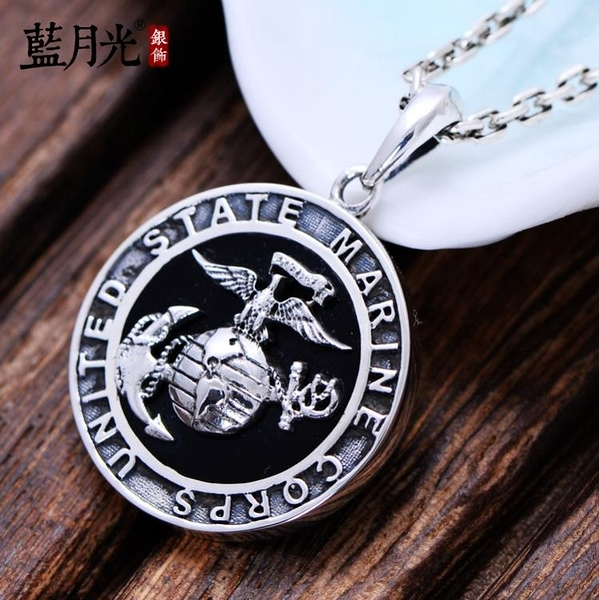 [超豐國際] 925銀飾品復古泰銀美國海軍陸戰隊圓牌標志霸氣