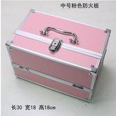 新款手提大號化妝箱專業化妝師必備紋繡工具箱彩妝箱(中號粉色30cm)