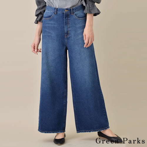 ❖ Hot item ❖ 率性刷色不收邊牛仔寬褲 - Green Parks