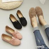 新款平底豆豆鞋女夏復古蝴蝶結奶奶鞋女鞋百搭春季套腳單鞋工作鞋  凱斯盾數位3c