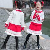 女童拜年服 女童唐裝冬中式古風加厚衣服兒童漢服新年套裝周歲寶寶禮服 ZJ4685【潘小丫女鞋】